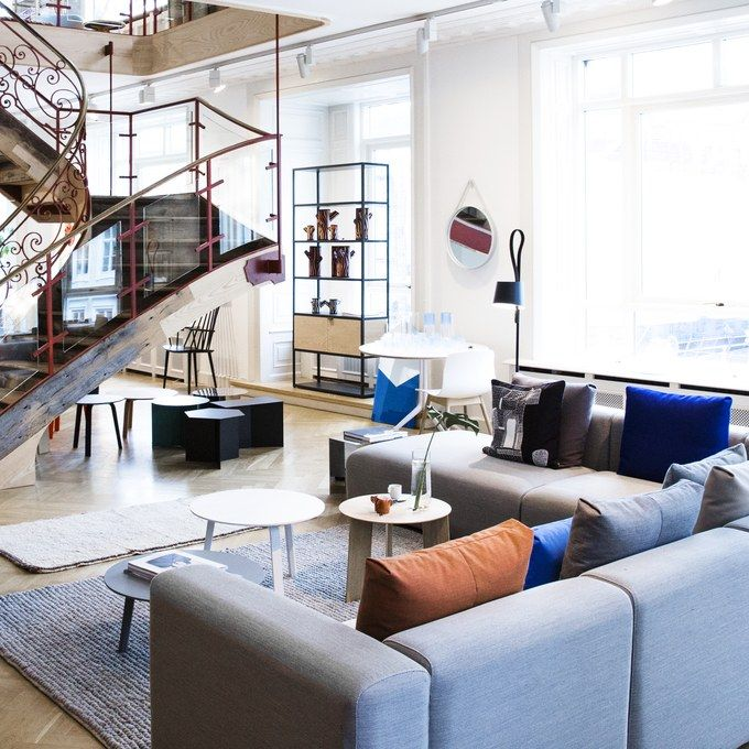 The flagship of this contemporary Danish brand sits across two large floors in a centrally located townhouse with a great view onto the city's main square. The impeccably curated shop showcases Hay's full range, which includes furniture, rugs, and endless accessories for the modern home—even stylish coat hangers.