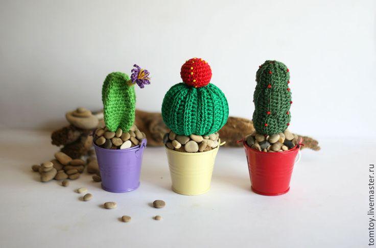 Купить Вязаный цветущий кактус - зеленый, Вязание крючком, вязаный кактус, вязаные цветы