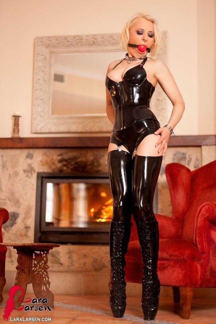 Blonde In Ballet Heel Boots Latex Lingerie Corset Stockings Suspenders
