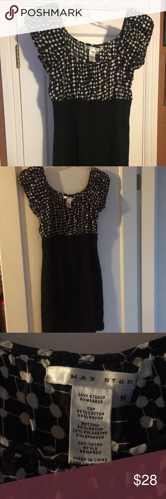 Casual work dress Black and white polka dot dress Max Studio Dresses Midi