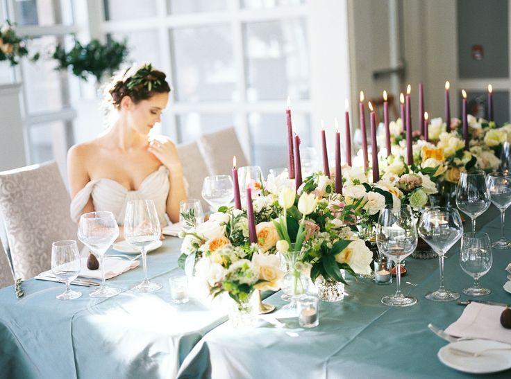 landgon hall firshade room wedding, plum candles,