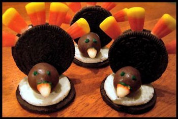 Easy Oreo Turkeys for small children                                                  Requires:   •2 Oreo Double Stuff cookies   •1 malted milk balls (like a whopper)   •4-6 candy corn    Directions:         Take 1 oreo apart. This will be the base.     Place the whole oreo on its side on the base, so that it sticks to white of the oreo.    In front of the oreo on its side, place a malted-milk ball for the turkeys head.     Place candy corn, points down, in between ...