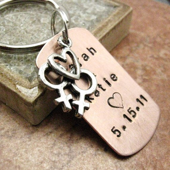 Hey, I found this really awesome Etsy listing at http://www.etsy.com/listing/104912114/personalized-lesbian-wedding-key-chain