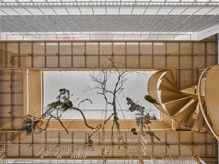 Plants hang in the void space. Molecure pharmacy, Taiwan. Photo by Kuomin Lee.  #interior #design #pharmacy #tech