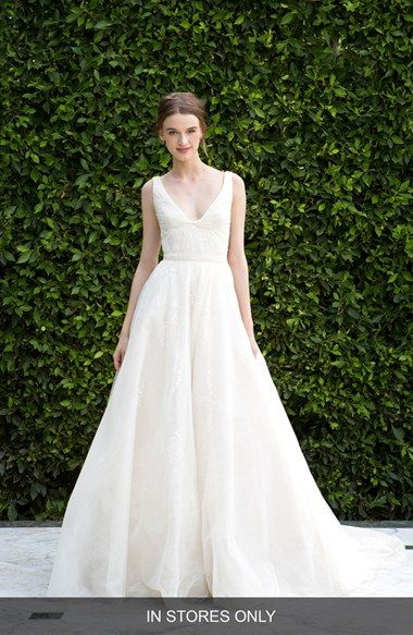 BLISS Monique Lhuillier Scoop Neck Ruched Waist Lace & Tulle Ballgown (In Stores Only)