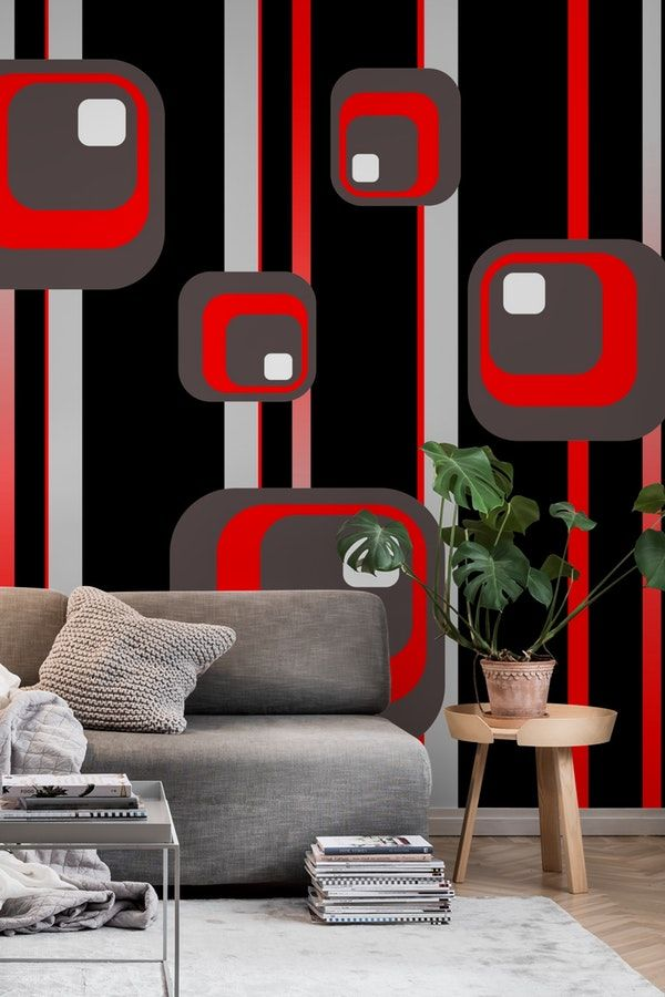 Black Vintage Geometric Design Wallpaper Wall Murals Geometric Design Wall Design