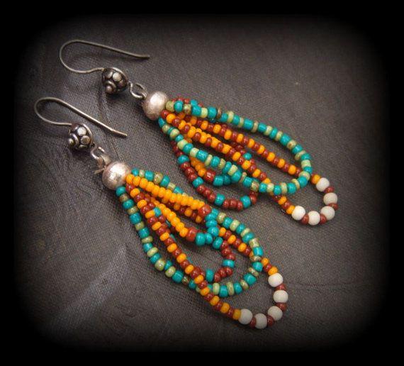 Glass Seed Bead Looped Gypsy Dangle Beaded Earrings