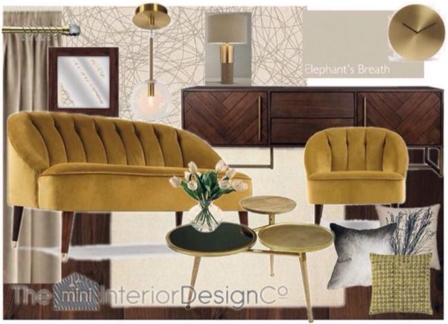 Glam Gold Mustard Yellow Living Room Design Board A Glam Art Deco Style Liv G In 2020 Living Room Design Board Living Room Designs Interior Design Companies