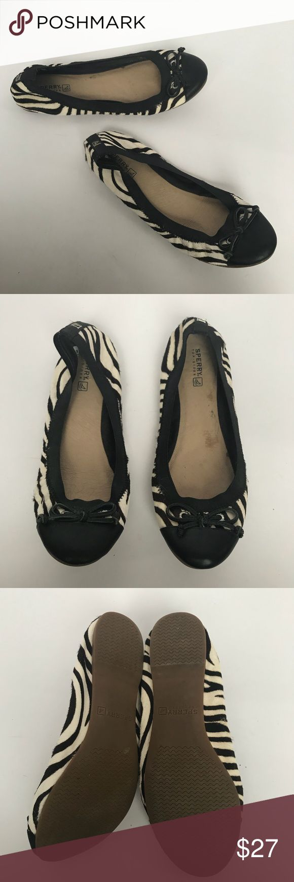 Sperry zebra striped ballet slipper flat Excellent condition, only worn twice. The stripes are actually a very dark brown, not black. Cute and comfy. Sperry Shoes Flats & Loafers