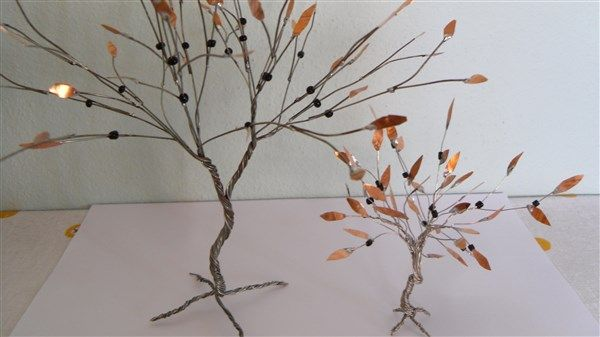 olive tree with wire and copper leaf and beads