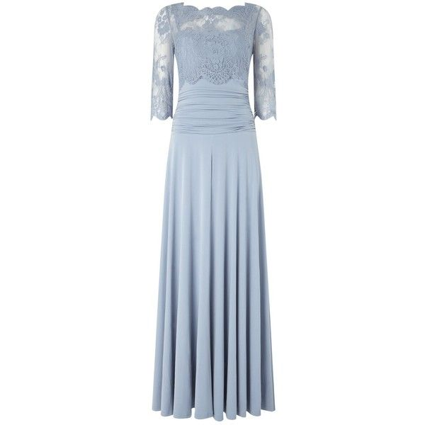 Phase Eight Romily Lace Dress, Dusty Blue ($235) ❤ liked on Polyvore featuring dresses, cut out maxi dress, three quarter sleeve dress, 3/4 sleeve cocktail dress, lace slip and maxi dress