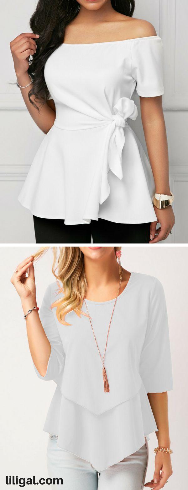 white blouse, off the shoulder white blouse, white layered blouse, cute white blouse, classy white blouse #liligal #blouse #shirts #top #womenswear #womensfashion