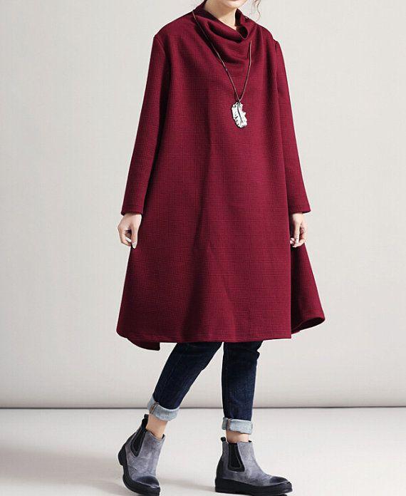 Hoge stapel kraag Oversize jurk wijn rood groot formaat door MaLieb