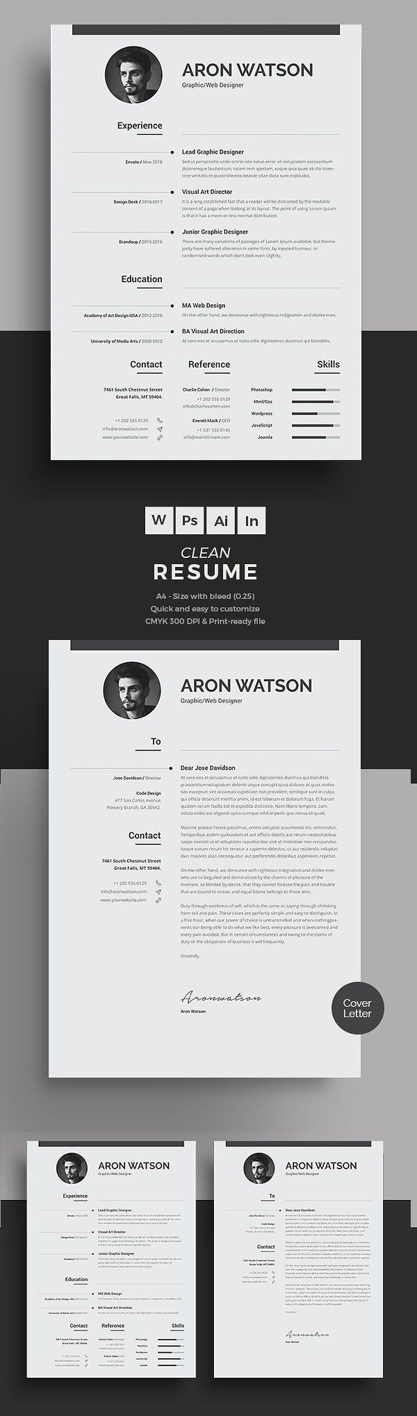 New Professional CV / Resume Templates with Cover Letter | Design | Graphic Design Junction