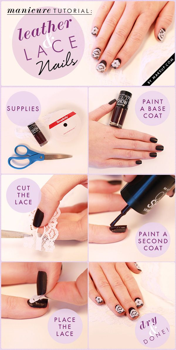 how to: leather and lace manicure // fancy nail art! | See more at http://www.nailsss.com/french-nails/3/ #nails #nailart #fancynails #fancy #popular #beauty #naildesigns