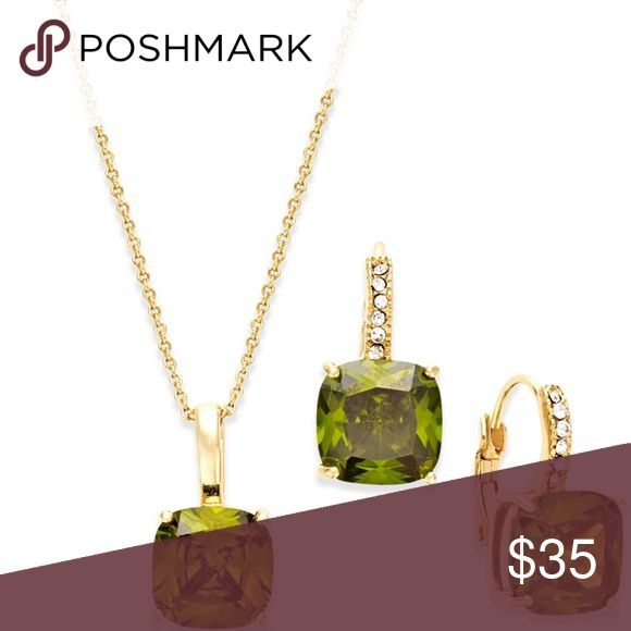 City by City Olive Gold Tone Necklace Earring Set Genuine cubic zirconia accents this gold tone olive necklace and earring set by City by City. Purchased from Macy's. Item is brand new in original box. Box May show signs of wear from handling, display comment storage. Price tag still intact – suitable for gift-giving. City by City Jewelry Necklaces