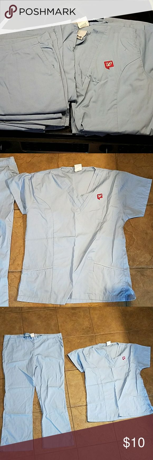 Walgreens Pharmacy Tech Scrubs This is a bundle of scrubs. Selling them all together, since I dont need them anymore. They are In used condition.  Will not seperate, just selling all together really cheap. Different sizes of pants in the bundle. scrub tops- 5 medium tops. Scrub pants- 1- Medium Regular,  2-Medium Tall,  and 1- Medium Maternity.  The tops have the small Walgreens emblem on them (could cover easily), and the pants do not have a logo. walgreens Other