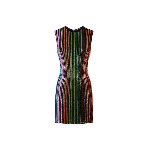 Balmain Beaded Stripe Dress (€3.930) ❤ liked on Polyvore featuring dresses, going out dresses, holiday party dresses, party dresses, balmain dress and day party dresses