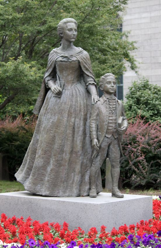 Abigail Adams and John Quincy Adams- the only statue of a president as a young boy. Quincy, Massachusetts