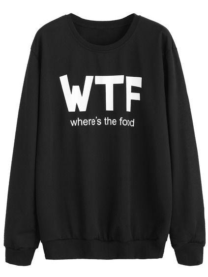 Sweat-shirt imprimé lettres - noir