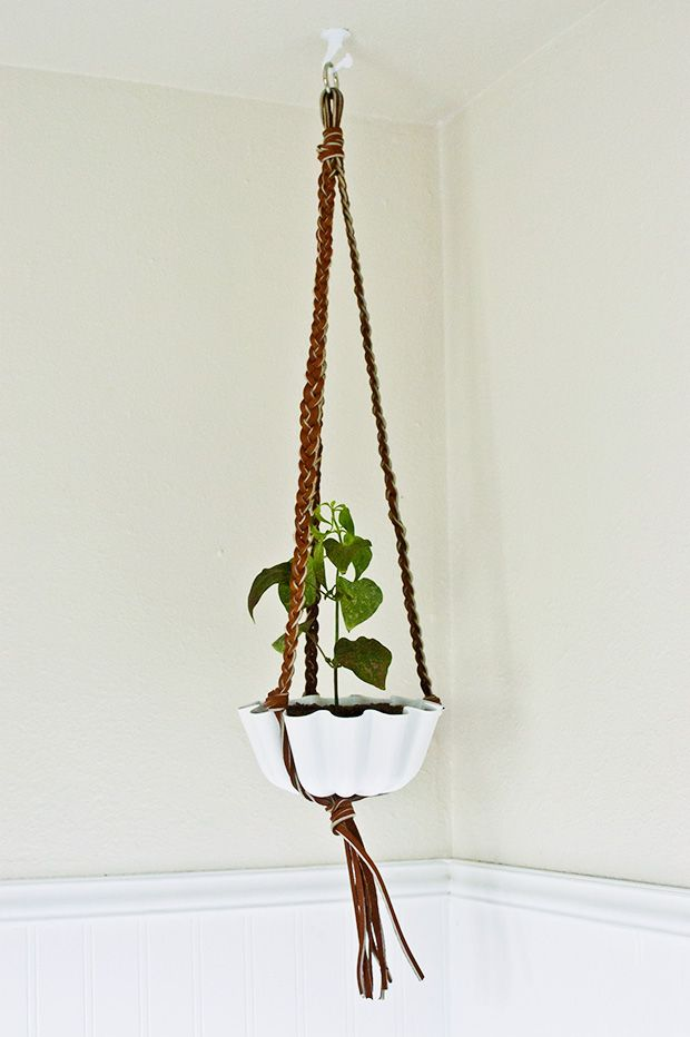 Diy Braided Leather Hanging Plant Holder Creative Native