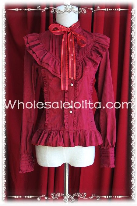 Slim Fit Ladies Wine Red Stripes Cotton Lolita Blouse  Lolita Shirt Gothic Blouse