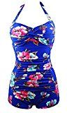 """Womens Retro One Piece Tummy Control Swimwear Boy Leg Ruched Swimsuits Pin Up Monokinis Maillot Bathing Suit Dark L   Feature – Adjustable halter neck ties in the back & Cute sexy V neckline & Pin Up supportive push-ups & High waist """"S"""" curve body shape &..."""
