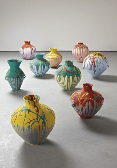 Ai Weiwei, Nine Coloured Pots, 2006. pots are beautifully colored in contrasting bright colors but some of the base colours of pots are very soft and not high toned.