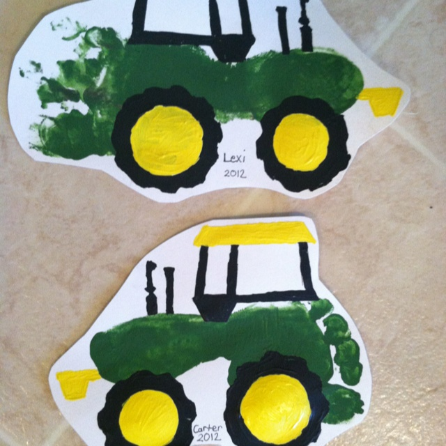 cute....Tractor footprint art.  Get their little footprint onto some white scrapbook paper.    Then print off a tractor image online, you might need to blow it up to fit the size of the footprint.  Cut out the tractor pieces and trace around footprint with a pencil and paint.  Could be done with anything I bet.    The link on this is the tractor I used to trace