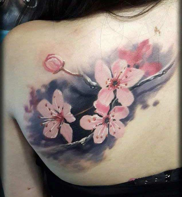 shoulder-cherry-blossom-tattoo