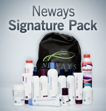 Neways Signature Pack with bathroom essentials and nutritionals.