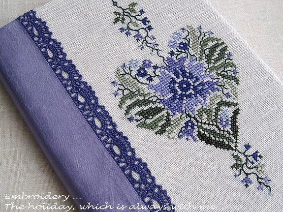 Blue Flower Heart • 1/2 Stitched Design