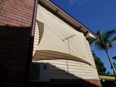 Shade sail can be used vertically to reduce the heat from window and walls.