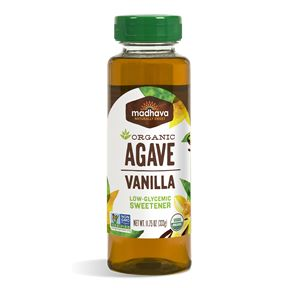 Madhava | Organic Agave Vanilla | Ingredients: organic blue agave, natural vanilla flavor |  Is 1.4x sweeter than sugar | Low-glycemic sweetener | Recommended for coffee, mixed drinks or as a flavorful topping on ice cream | Is 71% sugars | One tablespoon (21g) has 60 calories and 15g of sugars | #organic #nongmo #kosher #vegan #glutenfree #organicsyrup #organicsweetener #blueagave #madhava #agavenectar #syrup #lowglycemic #lowglycemicsweetener