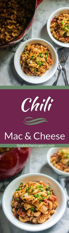 Chili Mac and Cheese, for when you can't decide which you want it's the best of both worlds. Abowl full of cheesy chili macaroni deliciousness. | tinykitchencapers.com