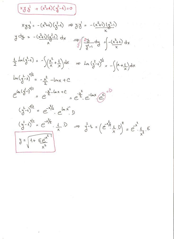 Solución del ejercicio 2 de Ecuaciones Diferenciales de Variables Separadas