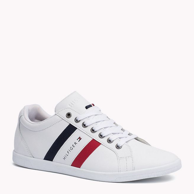 Tommy Hilfiger Sneakers Aus Leder - white / midnight / tango red