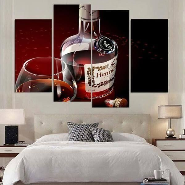 Hennessy Cognac Canvas Wall Art Liquor Bottle Wall Decor Canvasx Net Living Room Pictures Canvas Wall Art Set Home Decor