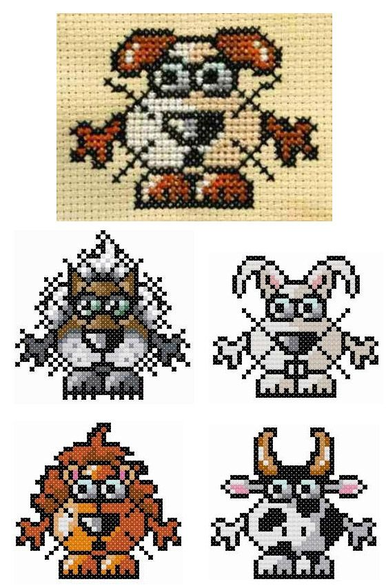 Small animal designs by Barbara Ana - free #cross #stitch #patterns to download.  Small dog, wolf, bunny, lion, cow...and more  #embroidery