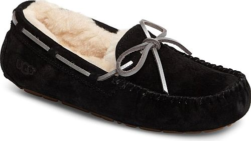 UGGR Women's Shoes in Black Suede Color. Metallic-finish laces add eye-catching gleam to a fan-favorite moccasin slipper from UGG fitted with a flexible rubber sole for indoor/outdoor versatility. The plush lining is crafted from UGGpure, a textile made entirely from wool but crafted to feel and wear like genuine shearling.
