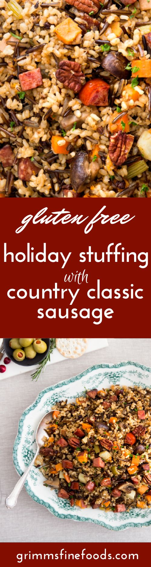 Our Holiday Stuffing with Country Classic Sausage plates beautifully with a rustic feel and all the warmth we love of holiday menu items.   This recipe is a simple one-pot dish that is entirely gluten-free.