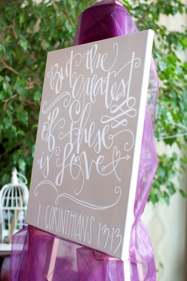 'But the greatest of these is love' love quote wedding sign