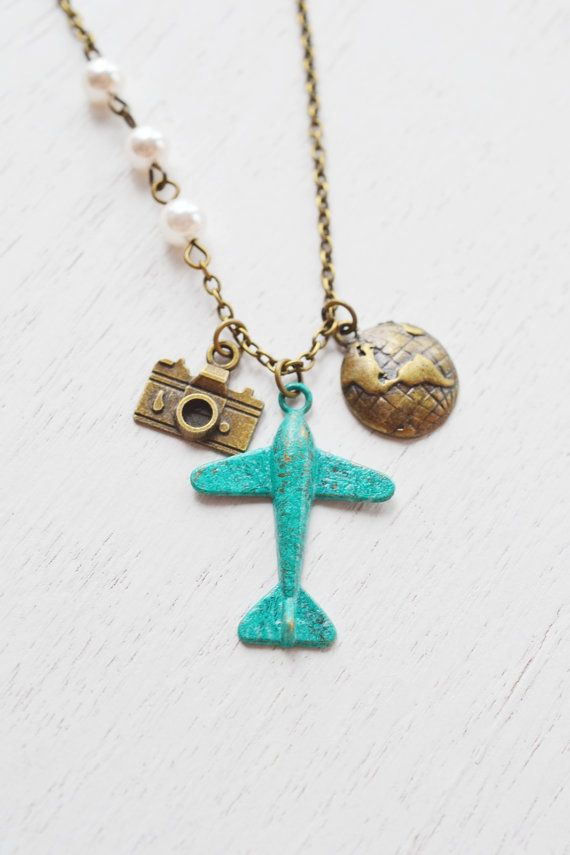 airplane glob necklace,aviation necklace,airplane aeroplane necklace,globe necklace,globetrotter gift,world traveler,camera necklace,patina verdigris,plane aircraft travel,christmas gift,holiday