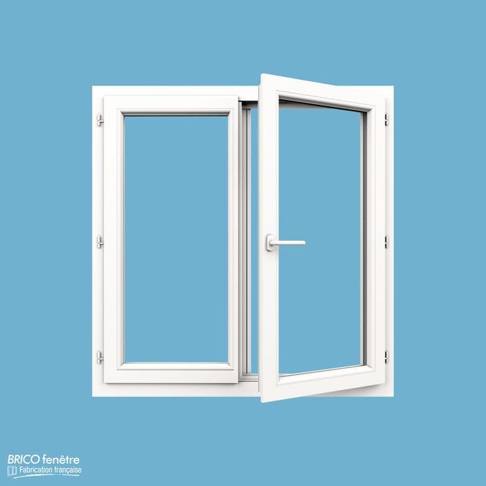 Fenêtre PVC Gamme CONFORT à 2 vantaux ouvrant à la française - hauteur: 65 cm / largeur: 120 cm