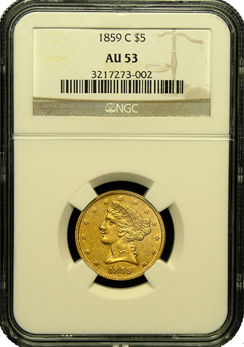 A seldom seen issue of the largest denomination issued at the Charlotte, NC Mint. This coin is far rarer than the price would suggest and it is known to be an issue that is very tough to obtain in higher grades, like this example. Just 31,847 were struck and today under 300 are known in all grades combined.