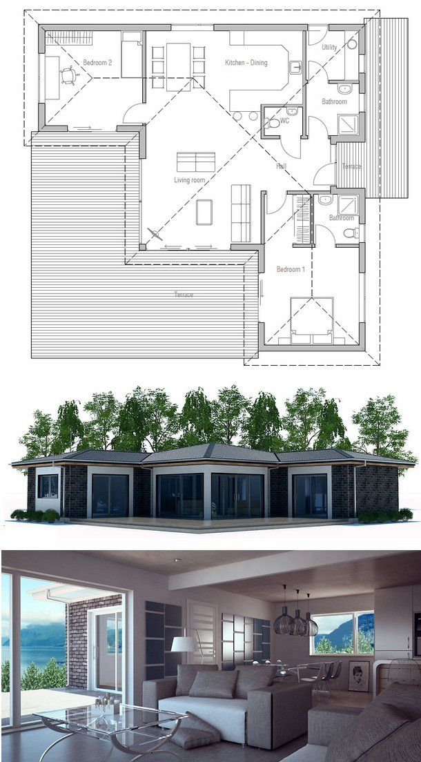 House Plan two bedrooms 52 best maison