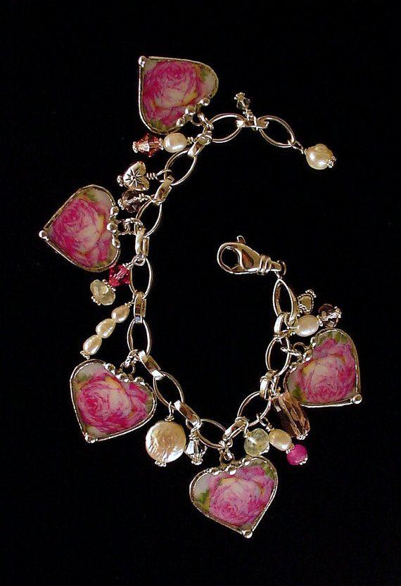 This is sooooo pretty! Broken China Jewelry Heart Charm Bracelet by dishfunctionldesigns, $275.00
