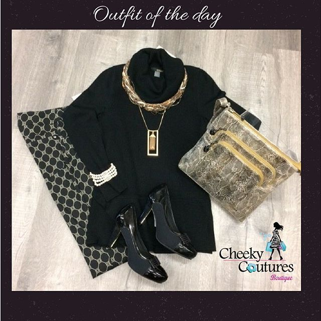 Black doesn't have to be boring.  It can actually be a great base for a fab outfit.  We have spiced up this silky soft knit relaxed turtleneck with a striking pattern bottom, made it all sparkle with touches of gold and of course added a great pair of shoes with gold detail.  Ta da! #cheekyoutfitoftheday  #cheekycouturesboutique #cheekystylist