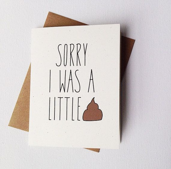Funny I'm Sorry Card. Sorry I Was A Little by tattoosloveletters, $4.00