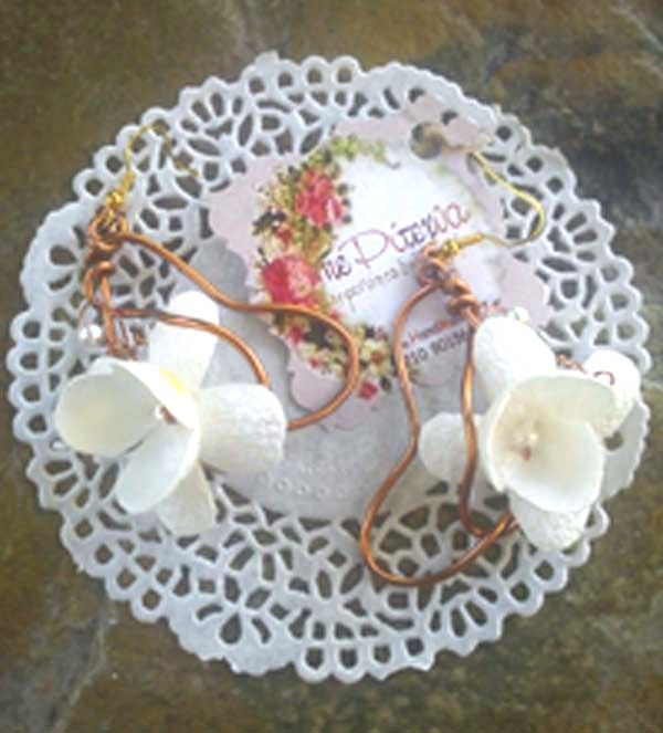 earrings with white silk cocoons